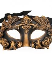 Venetiaanse oogmaskers zwart met brons