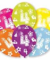 Verjaardag versiering leeftijd ballonnen 4 jaar 6 stuks