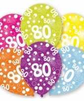 Verjaardag versiering leeftijd ballonnen 80 jaar 6 stuks
