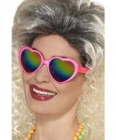 Verkleed hartjes bril roze