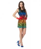 Verkleedkleding regenboog paillet jurkje