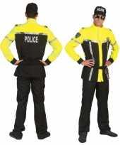 Verkleedoutfit politieagent geel en zwart