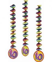 Versiering 10 jaar feest spiralen