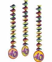 Versiering 40 jaar feest spiralen 9x stuks