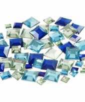 Vierkante glinster steentjes assorti blauw