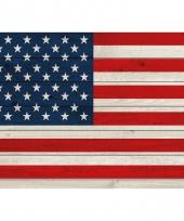 Vintage amerika vlag op hout poster 84 cm