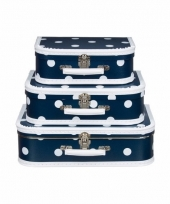 Vintage koffertje navy witte stip 35 cm 10090154