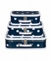 Vintage koffertje navy witte stip 35 cm