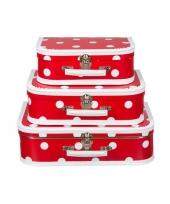 Vintage koffertje rood witte stip 35 cm