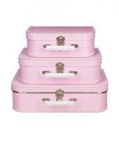 Vintage koffertje roze witte stip 25 cm