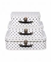Vintage koffertje wit zwarte stippen 25 cm 10090170