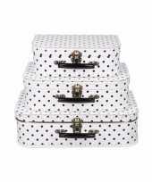 Vintage koffertje wit zwarte stippen 35 cm 10090172