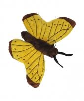 Vlinder knuffeltje geel 21 cm