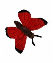 Vlinder knuffeltje rood 21 cm