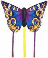 Vlinder vlieger blauw 52 x 34 cm met staarten