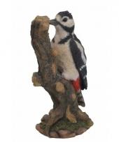 Vogel beeldje grote bonte specht 24 cm