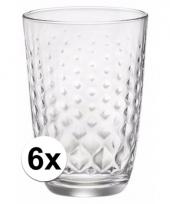 Voordelige glazen gedeukt glas 390 ml 6 stuks