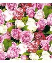Voorjaar rozen servetten 40 stuks