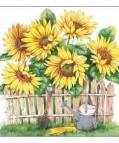 Voorjaar zonnebloemen servetten 40 stuks