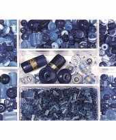Voorraadbox met donkerblauwe glaskralen