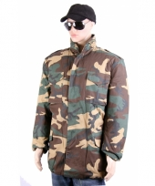 Warme jas in camouflage print