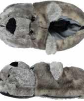 Warme winter sloffen pantoffels berenkop voor dames 10121938