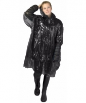 Wegwerp regen poncho zwart