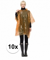 Wegwerp regen ponchos oranje 10 st