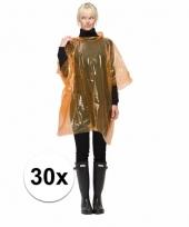 Wegwerp regen ponchos oranje 30 st
