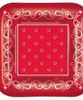 Western thema borden rode boerenzakdoek 8 stuks