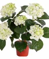 Wit groene namaak hortensia in pot 36 cm