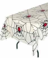 Wit halloween spinnenweb tafelkleed 135 x 270 cm