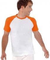 Wit oranje baseball t-shirt heren