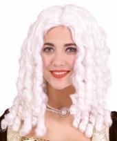 Witte barok damespruik