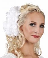 Witte flamenco haarbloem 20 cm