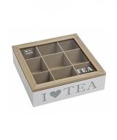 Witte houten theebox i love tea 24 x 24