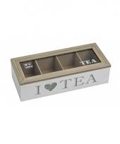 Witte houten theebox i love tea 26 x 11