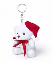 Witte kerstbeer sleutelhanger 10 cm