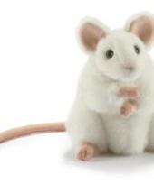 Witte knuffel muis 16 cm