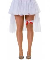 Witte kouseband voor dames met kant