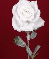 Witte kunst roos met sneeuw 66 cm