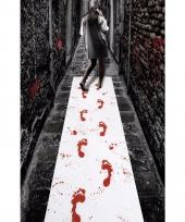 Witte loper met bloed afdrukken 450 x 60 cm