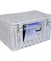 Witte mand met riempjes 45 x 30 x 25 cm