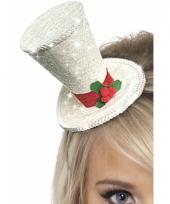 Witte mini hoge hoed met hulst