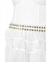 Witte riem met zilvere studs volwassenen