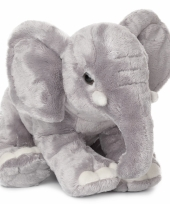 Wnf grijze knuffel olifant met slurf omlaag 30 cm