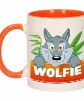 Wolven ontbijtbeker oranje wit voor kinderen 300 ml