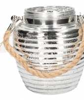 Woondeco lantaarns zilver glitter 16 cm
