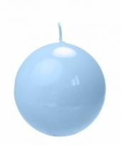 Woondecoratie licht blauw bolkaars 8 cm