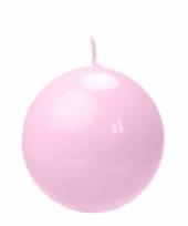Woondecoratie roze bolkaars 8 cm